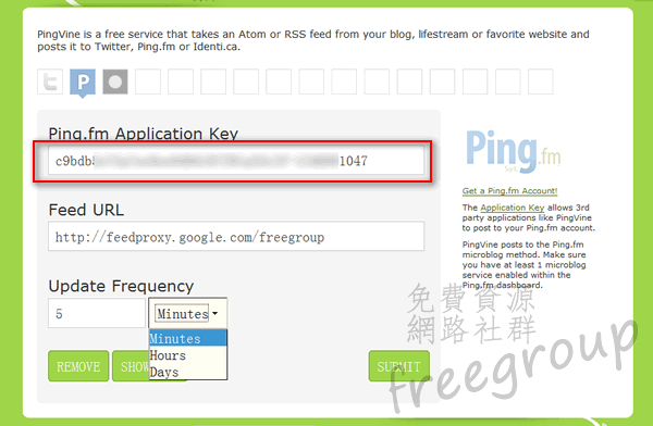 將 Application Key 貼上