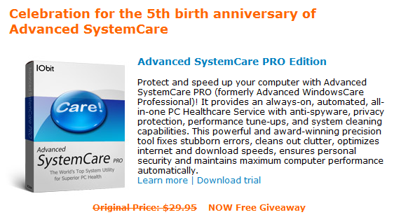 Advanced SystemCare Giveaway