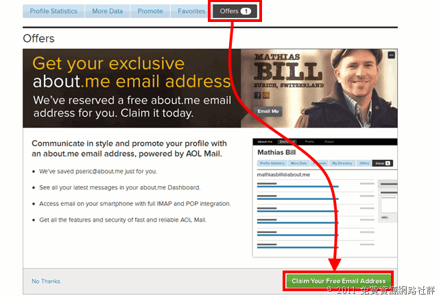 About.me 與 AOL 合作,推出個性化免費信箱(you@about.me)