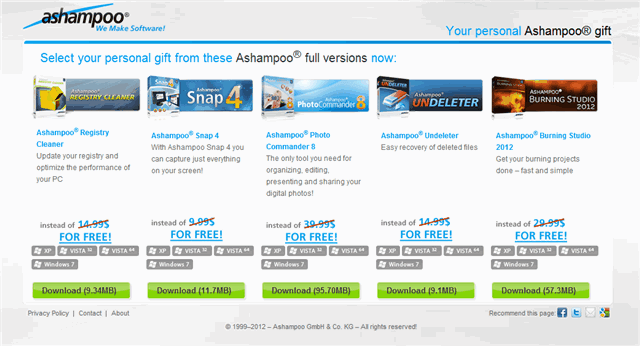 五套 Ashampoo 軟體限時免費下載,價值 $109.95 美元(Registry Cleaner、Snap 4、Burning Studio 2012 等)