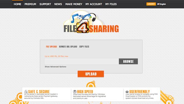 File4Sharing Premium 免空特級帳戶一年份,下載檔案無限制(價值 $90 美元)