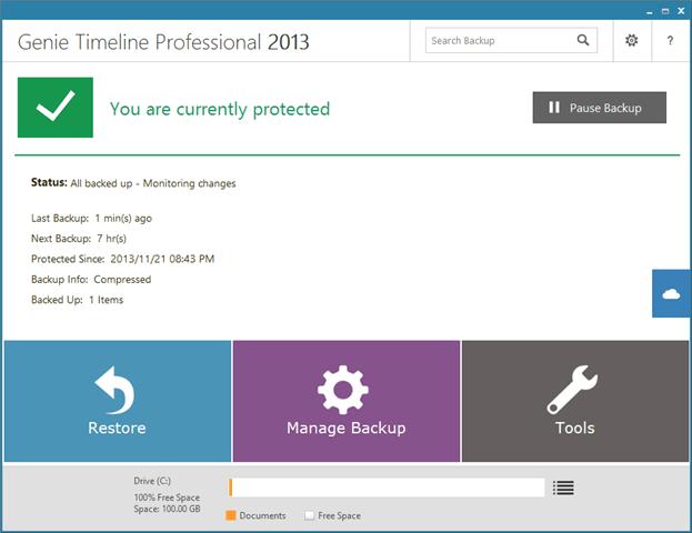 Genie Timeline Pro 2013 不間斷自動資料備份、還原工具,限時免費下載