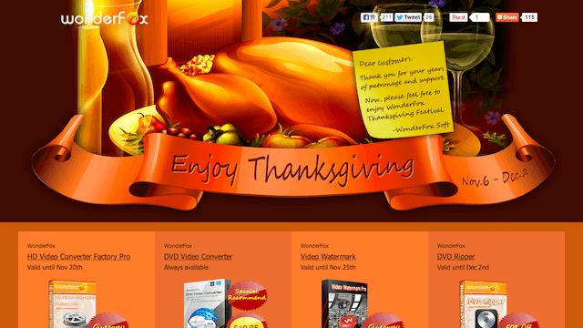 WonderFox 2013 感恩節活動來了!免費送影音轉檔、浮水印軟體(至 11/25)