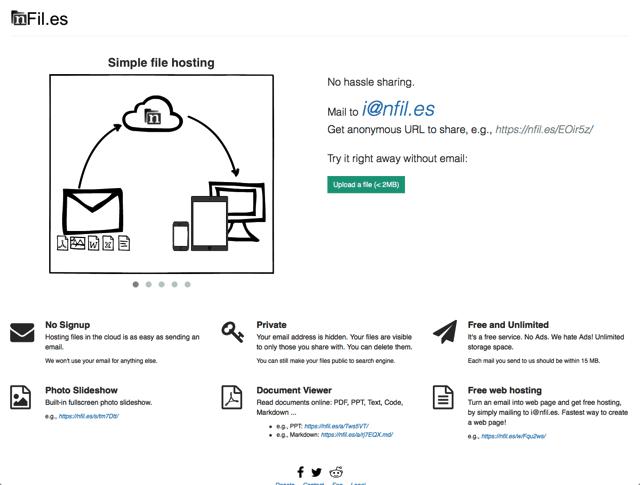 nFiles 將檔案以 Email 寄到特定信箱,立即產生下載、分享鏈結