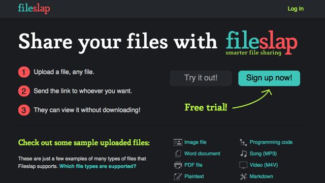 Fileslap 簡易檔案分享空間,可在線上預覽多種檔案格式