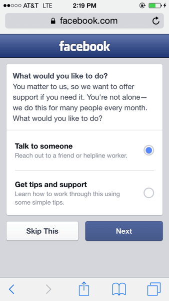 Facebook 與自殺防治機構合作推新功能,對有自殘風險的使用者提供協助