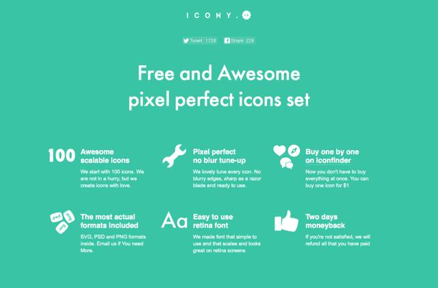 ICONY 集合 100 個平面化設計圖示,內建四種常見格式