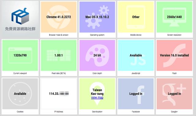 yourbrowser.is 顯示瀏覽器完整資訊,為客戶免費建立自訂檢測頁面