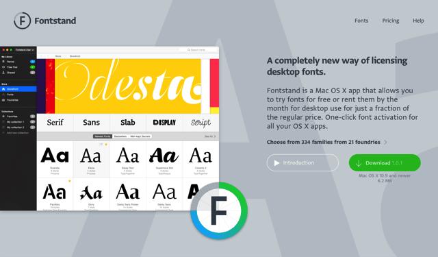 Fontstand 創新付費字型租賃計畫,免費試用一小時或 10% 價格租用一個月(Mac 應用程式)