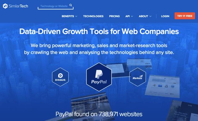 SimilarTech 挖掘網站使用那些技術與第三方服務,來自知名流量分析平台 SimilarWeb