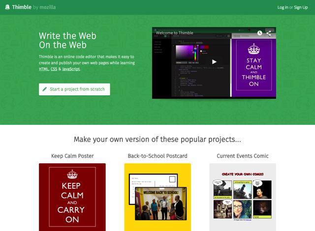 Thimble by Mozilla 線上程式碼編輯器,輕鬆學習編寫 HTML、CSS 和 JavaScript