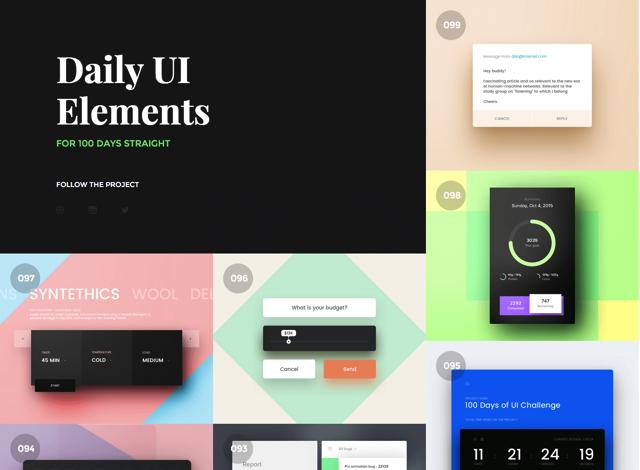 100 Days UI 百日設計挑戰!每日全新使用者介面設計靈感啟發