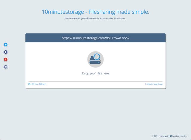 10Minutestorage 十分鐘臨時免空,線上共享交換檔案利器