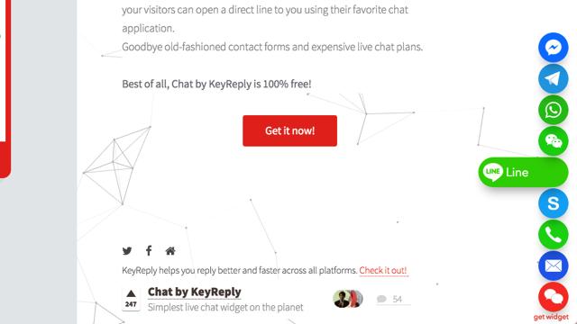 Chat by KeyReply 在網站右下角顯示即時通訊聯絡方式,讓訪客更容易找到你!