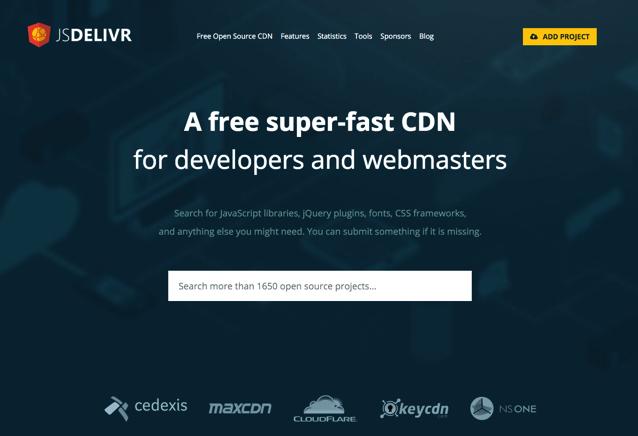 jsDelivr 免費 CDN 服務,提供數千種 JavaScript、CSS Libraries
