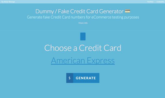 Dummy / Fake Credit Card Generator