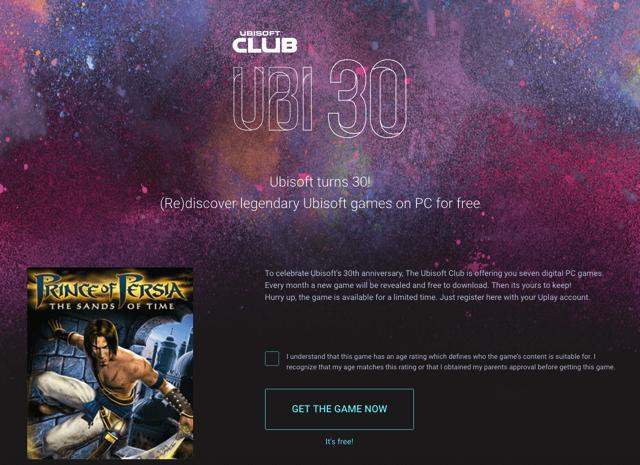 Ubisoft 歡慶三十週年,連續七個月免費送正版 PC Game