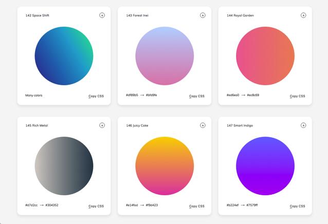 WebGradients 收錄 180 種漸層背景免費下載,CSS 3 樣式語法產生器