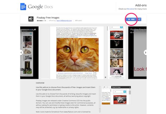 Pixabay 免費圖庫整合 Google Docs 外掛,在文件快速搜尋插入 CC0 相片素材