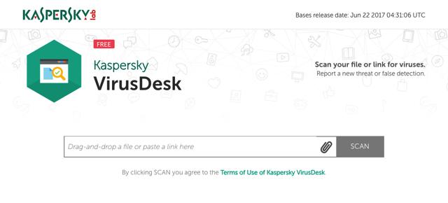 Kaspersky VirusDesk 卡巴斯基免费线上扫毒,检测档案或网页是否安全