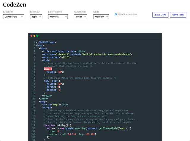 CodeZen 將程式碼轉為 JPG、PNG 圖片,上色後加入視窗及陰影效果