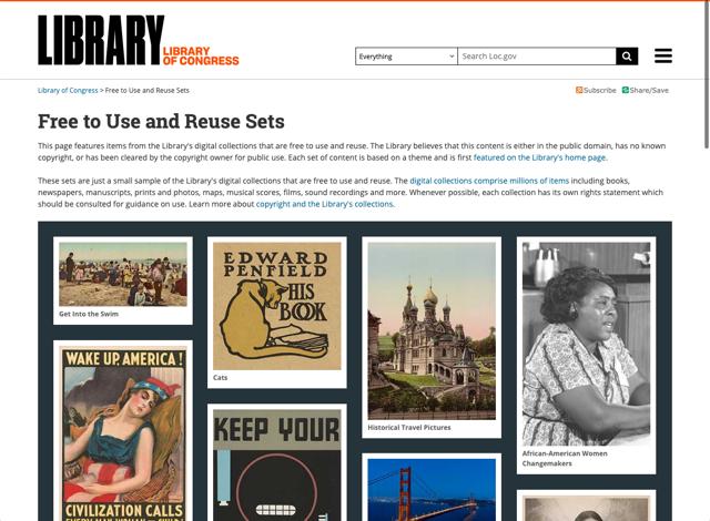 美國國會圖書館 Free to Use and Reuse Sets 可免費下載老照片、海報影片