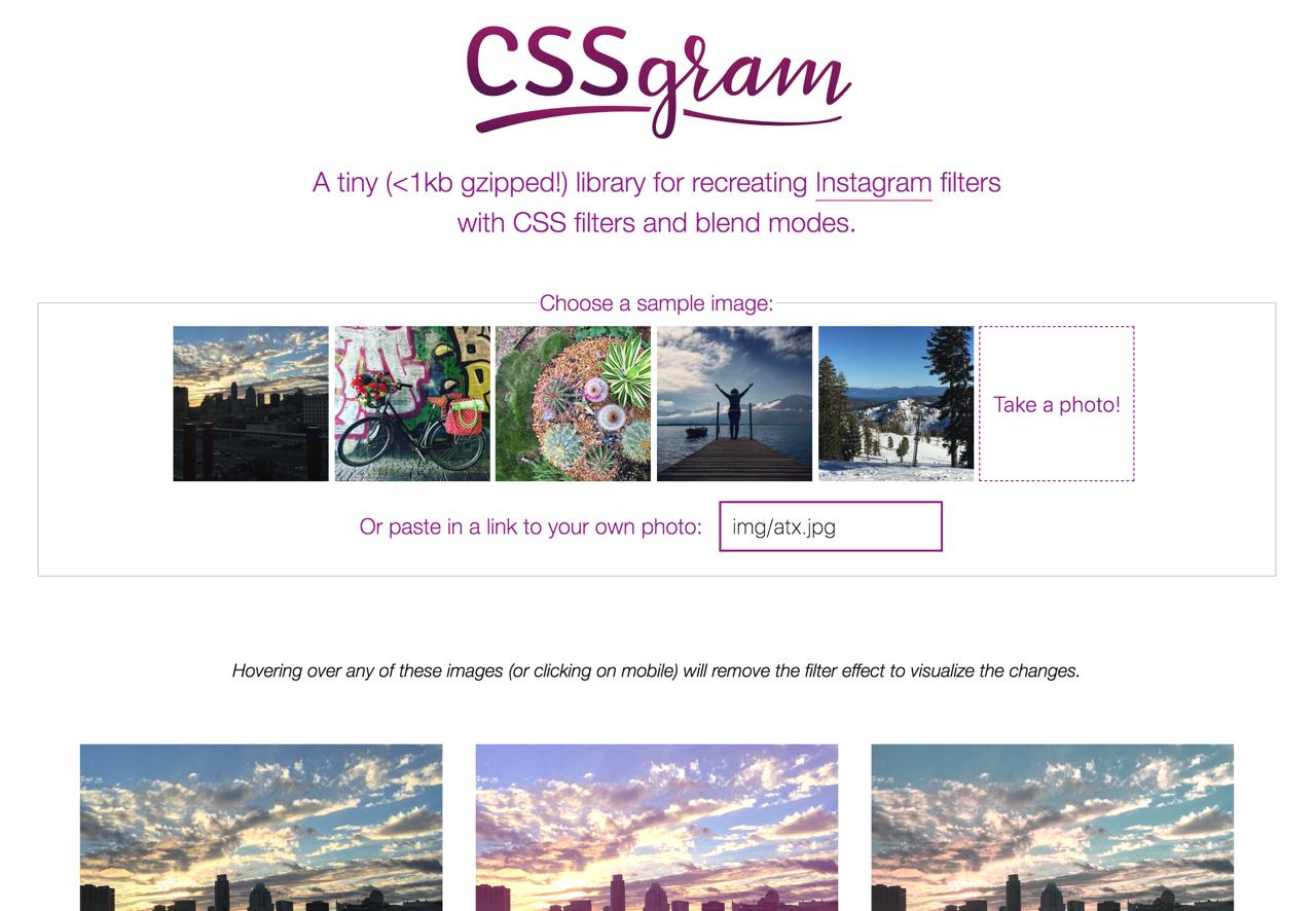 CSSgram 以 CSS 和 Sass 編寫而成 Instagram 濾鏡效果