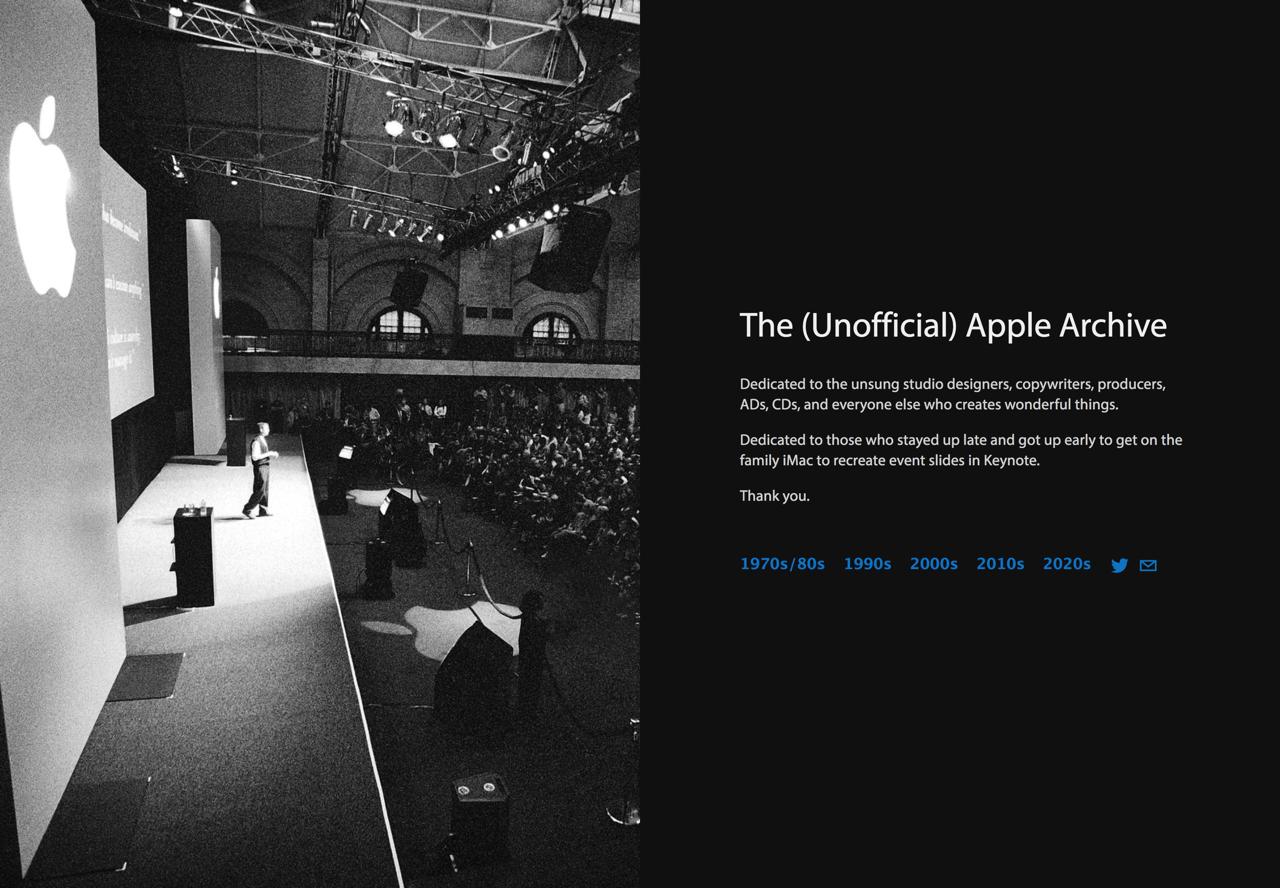 The Apple Archive 蘋果非官方檔案庫,收錄發表會影片、廣告和宣傳圖片
