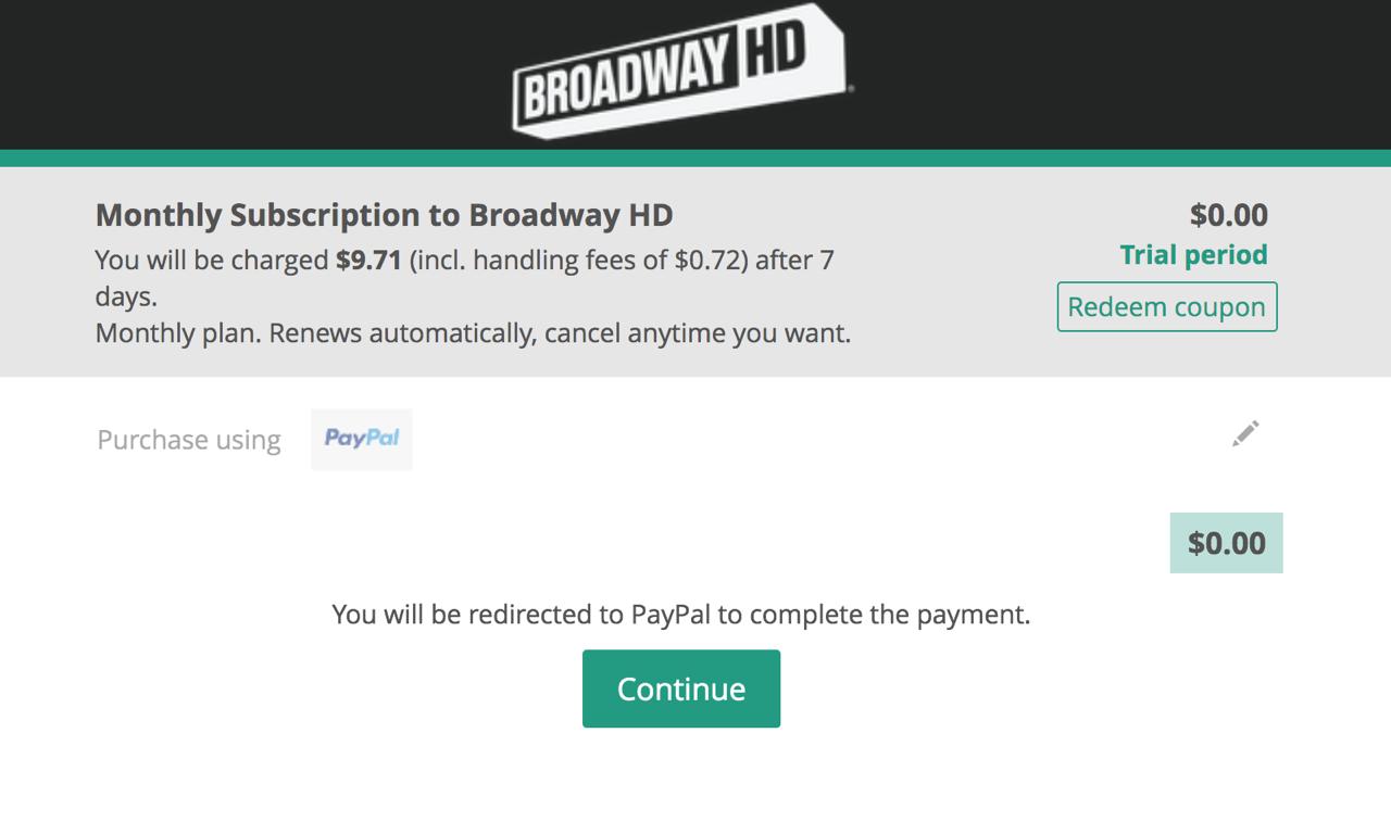 BroadwayHD Free Trial