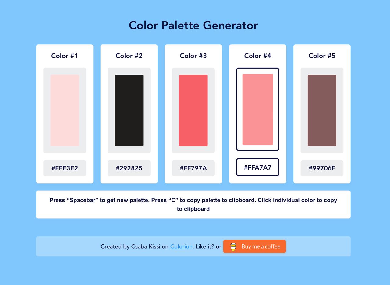 Color Palette Generator 線上調色盤工具,快速產生五個顏色可複製色碼