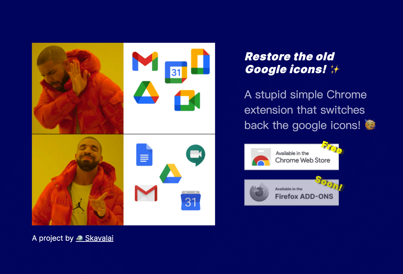 Restore old Google icons 將 Gmail、日曆和 Meet 網站圖示還原舊版(Chrome 擴充功能)