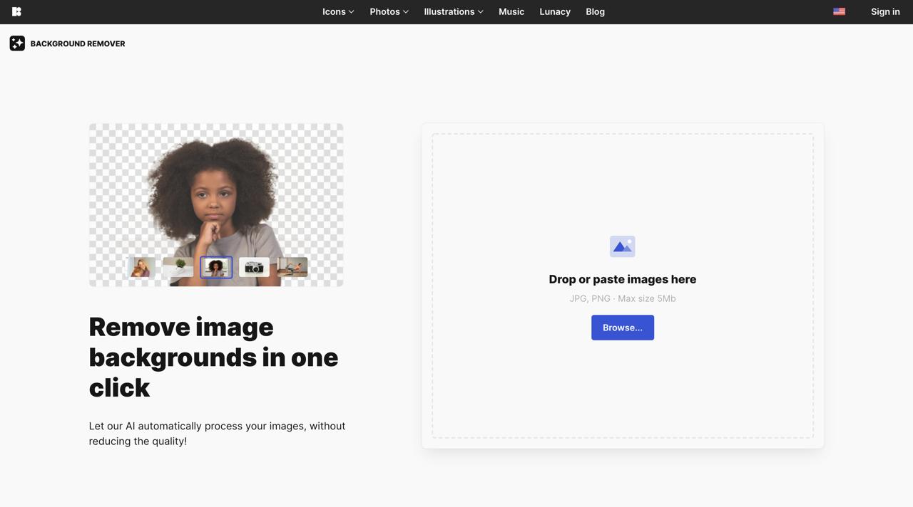 AI Background Remover 以機器快速去背,在瀏覽器上傳相片自動辨識主題