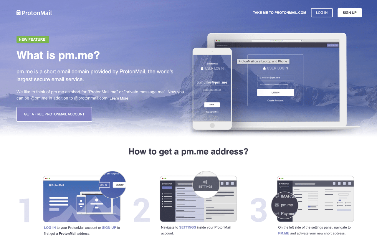 ProtonMail 免費短網址 pm.me 可用簡短好記的 Email 地址收發郵件
